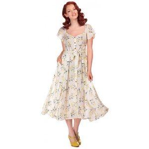Collectif Vintage Floral Daisy Retro Swing Dress